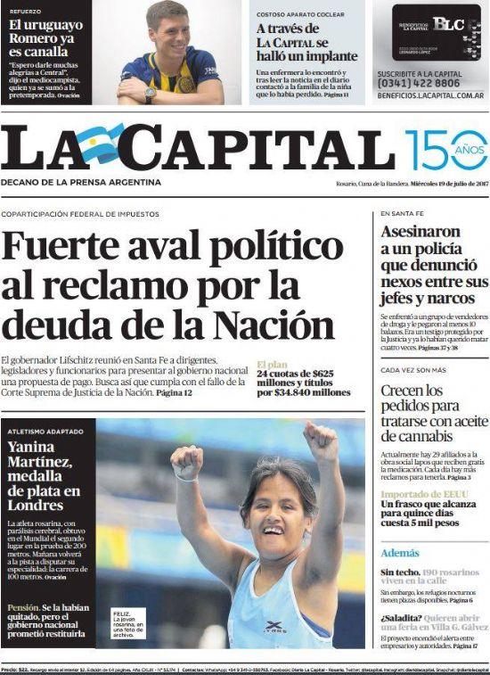 Tapa de La Capital para Yanina Martínez