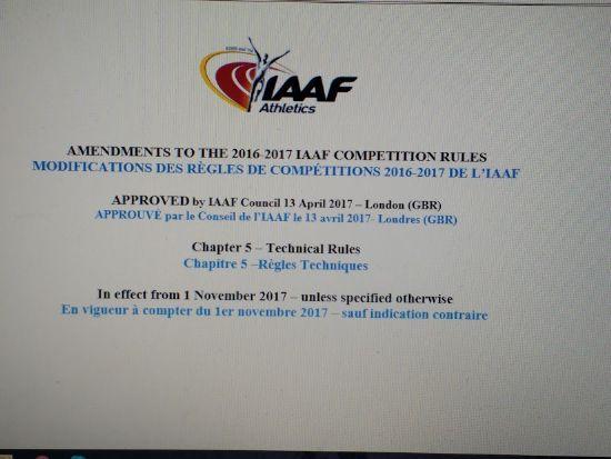MODIFICACIONES A LAS REGLAS IAAF