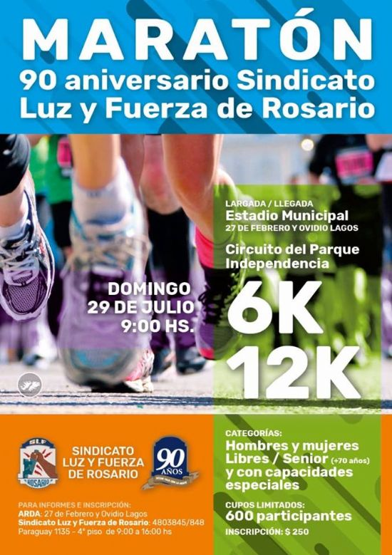 Proxima carrera en Rosario: 29 de Julio, 12k SINDICATO LUZ y FUERZA ROSARIO